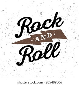 "monochrome vector hipster retro crest, badge , label, logo  ""rock and roll"" for poster, flayer or t-shirt print with lettering, lightning"