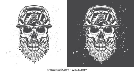 Monochrome vector illustration. Brutal skull biker motorcycle helmet with beard and moustache, with a cigar in his mouth.