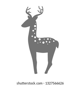 Monochrome vector illustration of doe isolated on white background. For kids, fabric, clothes design, bed linen, wallpaper, scrapbooking, stamping, stickers, signs, logo.