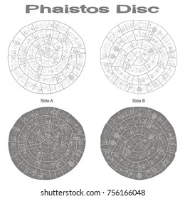 monochrome vector illustration with Phaistos disc for your design