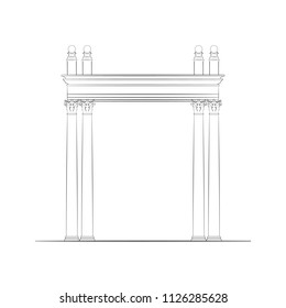 Monochrome Vector Illustration of a Portal or Gate with Corinthian Order Columns. Free Hand Draw. Freefand Architectural Drawing for Interior or Exterior. Retro Style Building. Classical Architecture.