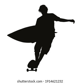 Monochrome vector illustration of silhouette of surfer riding a skateboard.