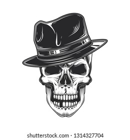 5cbfb1ca61c68 Monochrome vector illustration of a skull in a stylish hat. Retro style