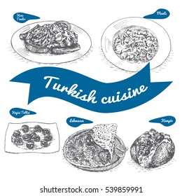 Monochrome vector illustration of Turkish cuisine and cooking traditions