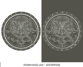 Monochrome vector image of an astrolabe