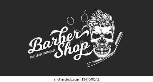 Monochrome vector logo of the barbershop in a vintage style. Skull with mustache and hair, hairdressing scissors, straight razor