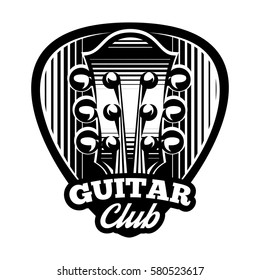 monochrome vector logo template with ple trum and guitar