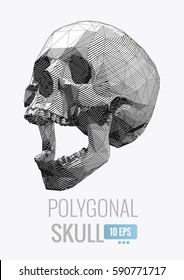 Monochrome vector low poly stylized stripe line skull illustration isolated on white background