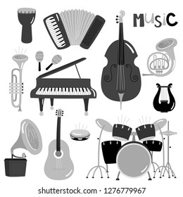 Monochrome vector music instruments of collection isolated. Musical piano and trumpet, guitar and drum illustration