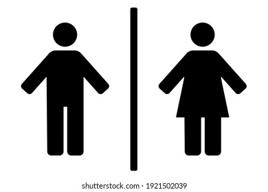 Monochrome vector pictograms of man and woman