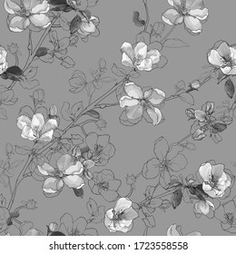 Monochrome vector seamless floral pattern of spring bloom branch with flowers cherry, buds, leaves on gray background. Blooming tree twigs sakura. Vintage. Hand drawn.  Stock illustration.