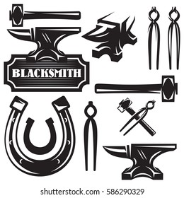monochrome vector set of design elements for blacksmithing