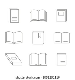 monochrome vector set with line book icons for your design