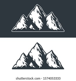 monochrome vector set of mountains and rocks on a dark and light background