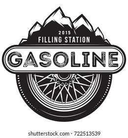 monochrome vector template for gas station with wheel and mountains.