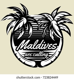 monochrome vector template for logo with two palms.