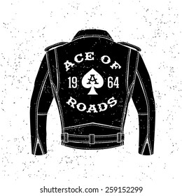"monochrome vintage biker label , badge , logo  "" Ace Of Roads "" for hipster poster or t-shirt print with black motorcycle jacket, ace of spades"