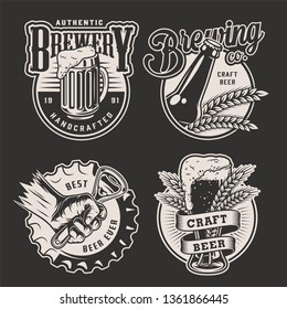 Monochrome vintage brewery badges with male hand holding bottle opener barley ears bear mug bottle and glass isolated vector illustration