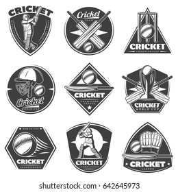 Monochrome vintage cricket sport labels set with players bats balls helmet trophy gloves wicket isolated vector illustration