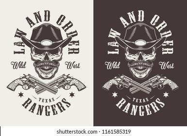 Monochrome vintage emblems with sheriff. Vector illustration