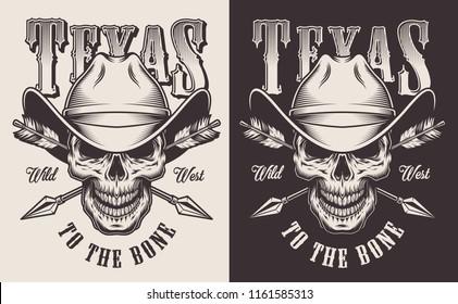 Monochrome vintage emblems with texas cowboy. Vector illustration