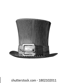 Monochrome vintage engraved dark line art drawing top hat with a belt woodcut style vector illustration isolated on white background