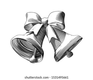 Monochrome vintage Engraved drawing of Christmas decoration bell and ribbon isolated on white background