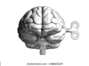 Monochrome vintage engraving drawing human brain with wind up key in front camera view  illustration isolated on white background