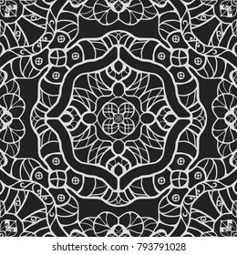 Monochrome vintage fantasy cartoon style seamless vector ornamental pattern with abstract flowers, leafs