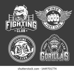 Monochrome vintage fighting logos with bumping and winged male fists boxing ring aggressive gorilla and dog heads isolated vector illustration