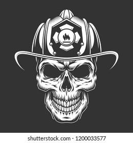 Monochrome vintage fireman skull in helmet isolated vector illustration