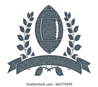Monochrome vintage Leyba rugby ball, laurel wreaths and ribbons. The symbol of the sport. Icon rugby club. Stock vector illustration