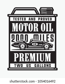 Monochrome vintage motor oil can with old sport car.
