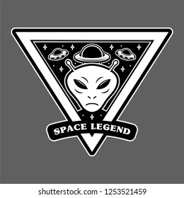 Monochrome vintage patch icon sticker pin with alien invaders Martian and big planet and UFO space legend. clothes print t shirt sweatshirt poster mascot logo illustration cartoon character design.