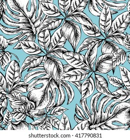 Monochrome Vintage Seamless Exotic Background with Tropical Leaves, Black and white Vector Leaves Botanical illustration