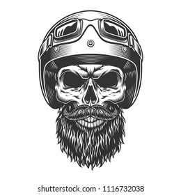 Monochrome vintage skull with biker helmet. Vector illustration.