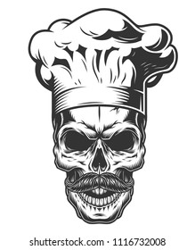 Monochrome vintage skull in chef style. Vector illustration