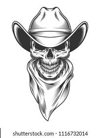 Monochrome vintage skull with cowboy hat. Vector illustration.