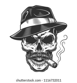 Monochrome vintage skull in mafia and gangster style. Vector illustration