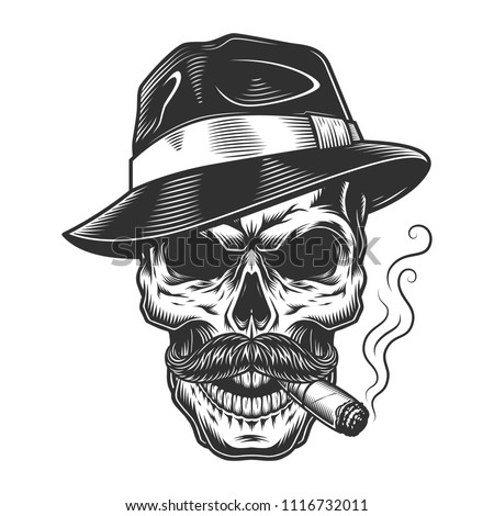 Monochrome vintage skull in mafia and gangster style. Vector illustration b9e70bb58a5c