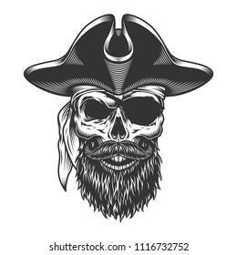 Monochrome vintage skull in pirate vintage style. Vector illustration.