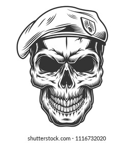 Monochrome vintage skull with seals hat. Vector illustration