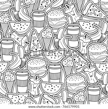 Monochrome Wallpaper With Food And Drinks Vector Pattern For Coloring Book
