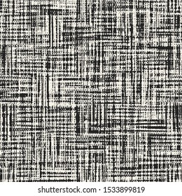 Monochrome Washed Canvas Textured Distressed Background. Seamless Pattern.