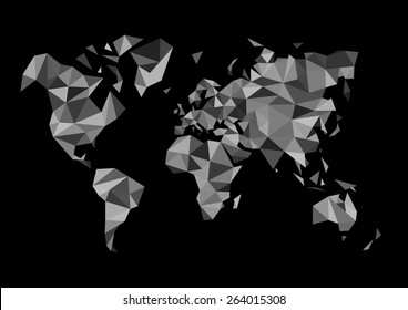 monochrome world map made in the style of polygon drawing black white