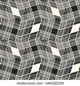 Monochrome Zigzag Stroke Mesh Graphic Motif. Seamless Pattern.