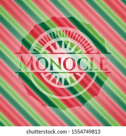 Monocle christmas colors style emblem. Vector Illustration. Detailed.