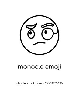 monocle emoji icon. Trendy modern flat linear vector monocle emoji icon on white background from thin line Emoji collection, outline vector illustration