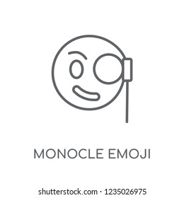 Monocle emoji linear icon. Modern outline Monocle emoji logo concept on white background from Emoji collection. Suitable for use on web apps, mobile apps and print media.