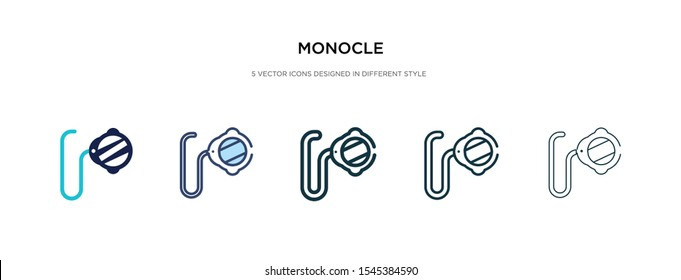 monocle icon in different style vector illustration. two colored and black monocle vector icons designed in filled, outline, line and stroke style can be used for web, mobile, ui